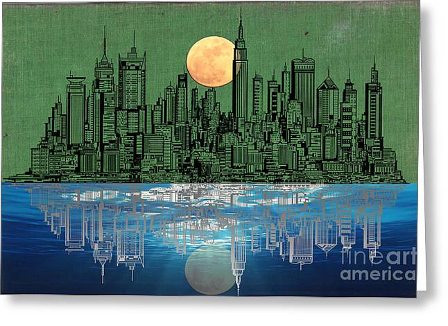 Town Mixed Media Greeting Cards - NYC Skyline Greeting Card by Adam Asar