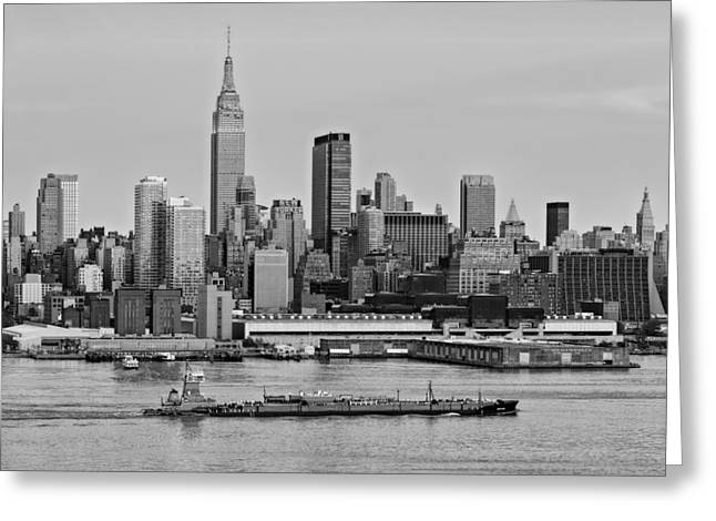 Hudson River Tugboat Greeting Cards - NYC Skyline And ATB Last Light BW Greeting Card by Susan Candelario
