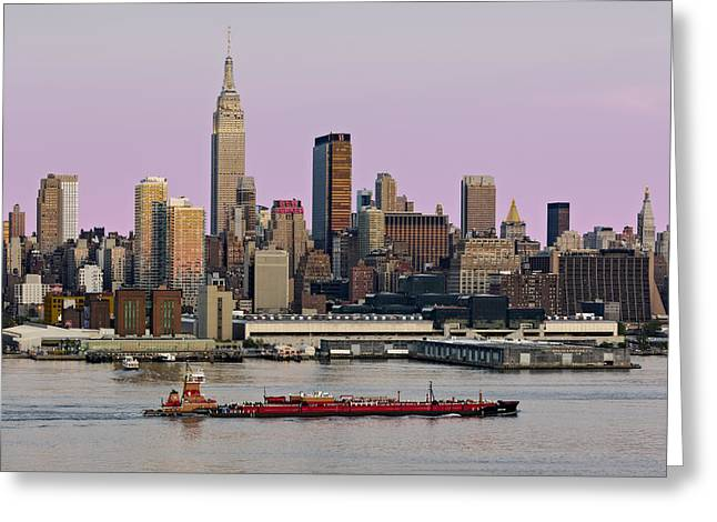 Hudson River Tugboat Greeting Cards - NYC Skyline And ATB Last Light Greeting Card by Susan Candelario