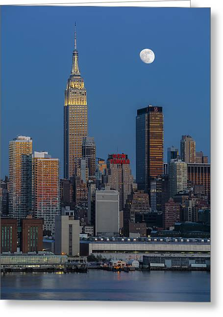 Empire State Building Greeting Cards - NYC Skyline Blue Hour Greeting Card by Susan Candelario