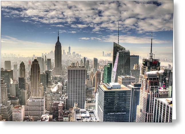 Nyc Skyline From Top Of The Rock Greeting Card by Vicki Jauron