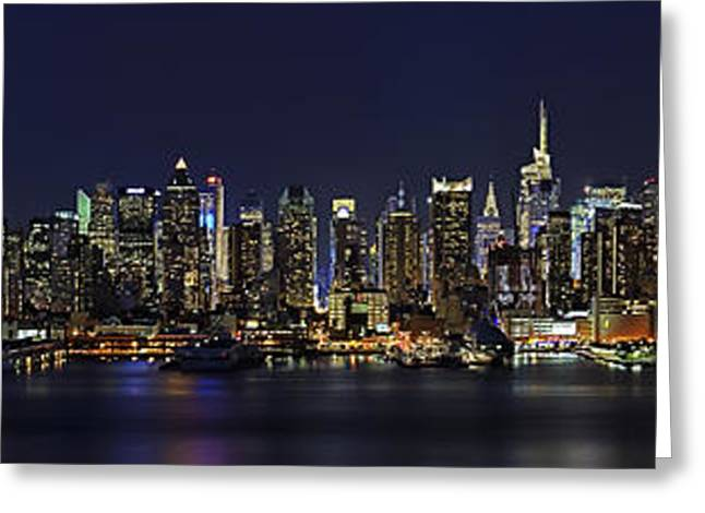 Full Moon Greeting Cards - NYC Skyline Full Moon Panorama Greeting Card by Susan Candelario