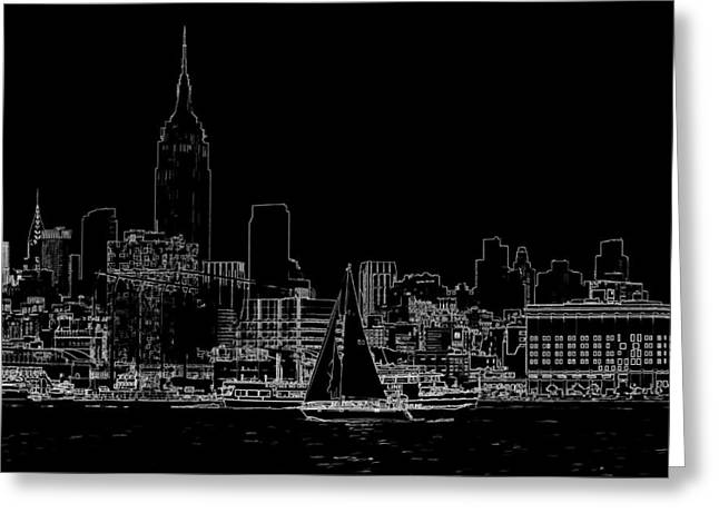 City Scapes Greeting Cards Greeting Cards - NYC skyline Greeting Card by Geraldine Scull