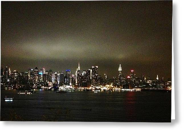 Nyc Pyrography Greeting Cards - NYC Skyline Greeting Card by Roque Rodriguez