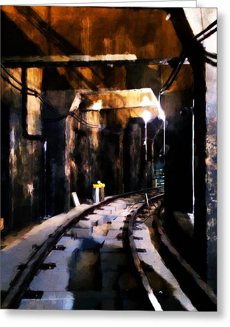 Gritted Greeting Cards - NYC Subway Greeting Card by H James Hoff