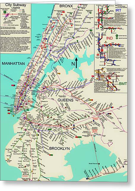 Old Map Mixed Media Greeting Cards - NYC Subway Map Greeting Card by Mountain Dreams