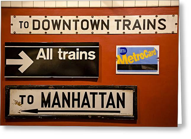 N.y.c. Greeting Cards - NYC Subway Signs Greeting Card by Susan Candelario