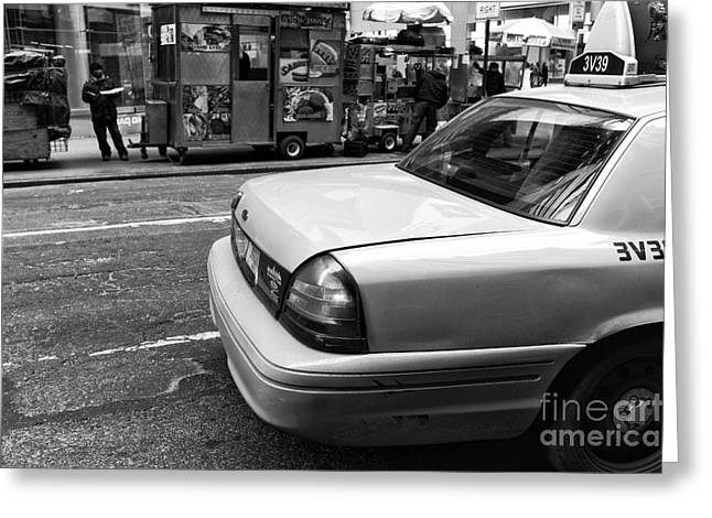 Hot Dog Stand Greeting Cards - NYC Taxi mono Greeting Card by John Rizzuto