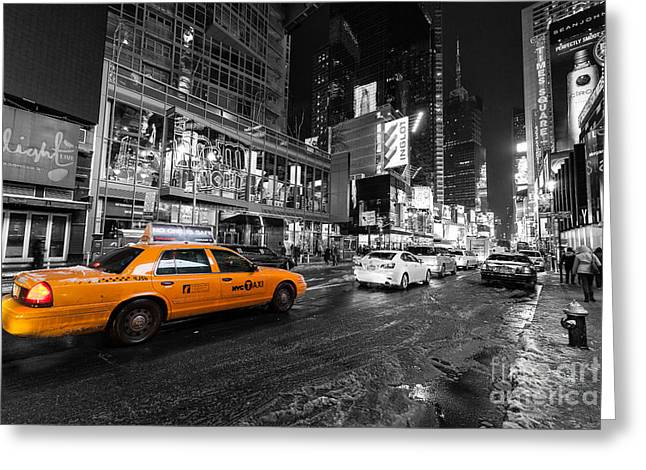Nyc Taxi Times Square Color Popped Greeting Card by John Farnan