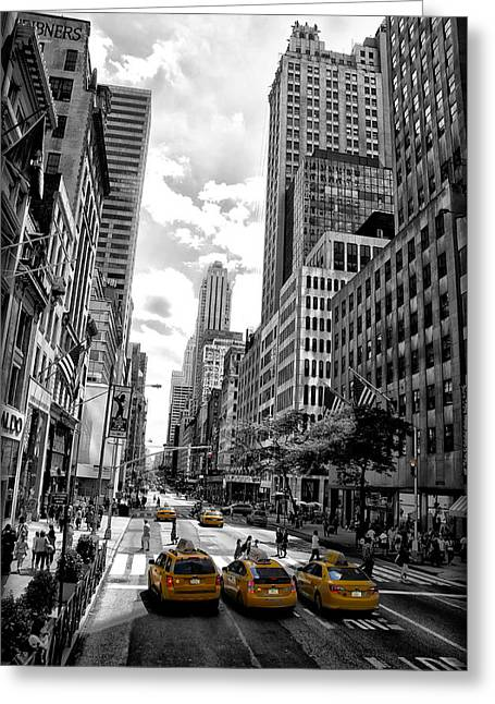 Nyc Taxi Greeting Cards - NYC Taxis Greeting Card by Bill Cannon
