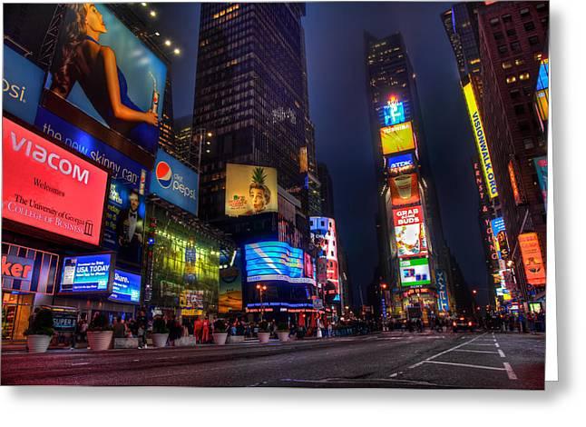 Nyc Times Square At Night Greeting Card by Joey Lax-Salinas