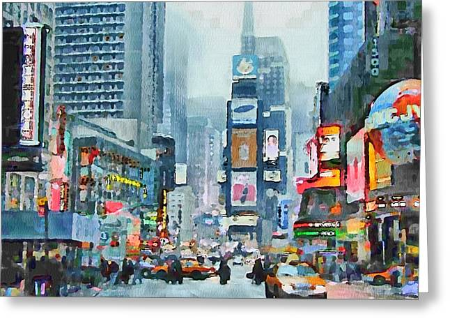 Live Art Greeting Cards - NYC Times Square Greeting Card by Yury Malkov