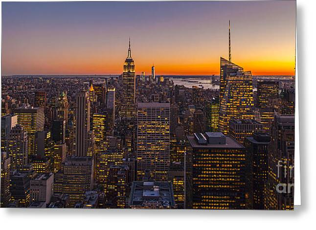 Nyc Top Of The Rock Sunset Greeting Card by Mike Reid
