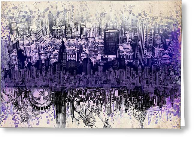 Modern Digital Art Digital Art Greeting Cards - Nyc Tribute Skyline 2 Greeting Card by MB Art factory