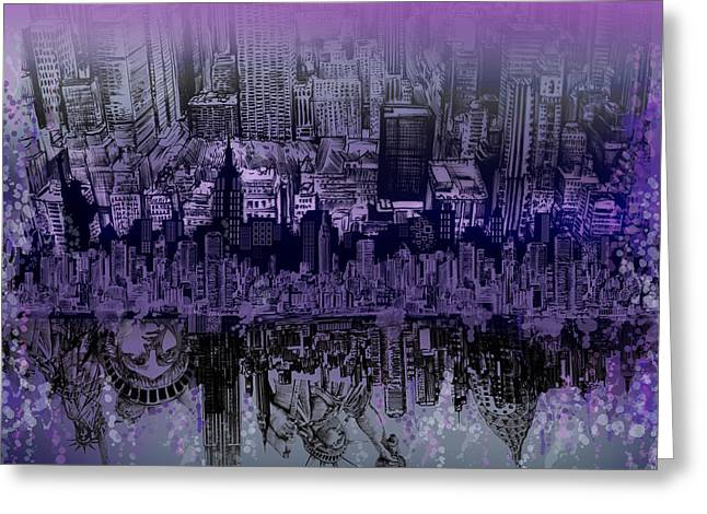 Times Square Digital Art Greeting Cards - Nyc Tribute Skyline Greeting Card by MB Art factory
