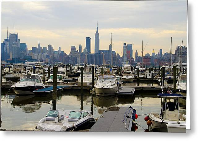 Times Square Digital Art Greeting Cards - NYC View from Lincoln Harbor Weehawkin NJ Greeting Card by Bill Cannon
