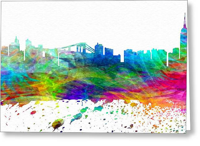Town Mixed Media Greeting Cards - NYC Watercolor Skyline Greeting Card by Daniel Janda