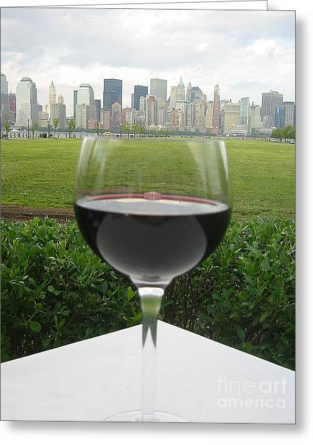 Nyc Greeting Cards - NYC Wine Glass Greeting Card by Judee Stalmack