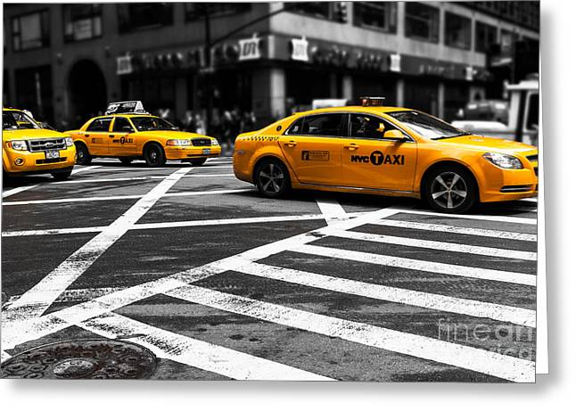 Fast Taxi Greeting Cards - NYC  Yellow Cab - ckI Greeting Card by Hannes Cmarits