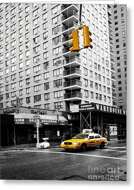 Fast Taxi Greeting Cards - NYC  Yellow Cab at the crossroad Greeting Card by Hannes Cmarits