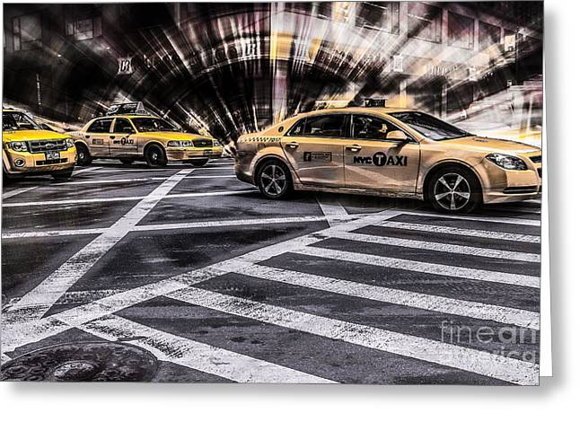 Hannes Cmarits Greeting Cards - NYC Yellow Cab on 5th Street - white Greeting Card by Hannes Cmarits