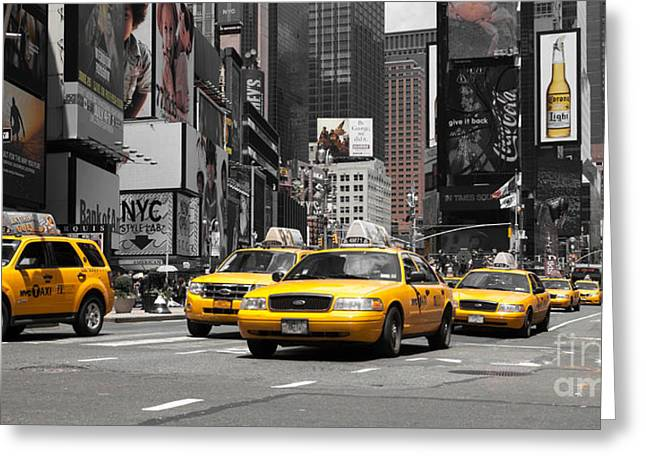 Manhatten Photographs Greeting Cards - NYC Yellow Cabs - ck Greeting Card by Hannes Cmarits