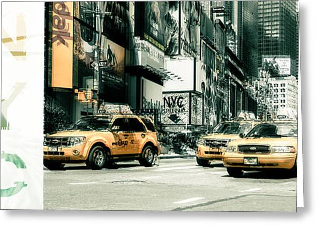Advertisment Greeting Cards - NYC Yellow Cabs and Lady Liberty  Greeting Card by Hannes Cmarits
