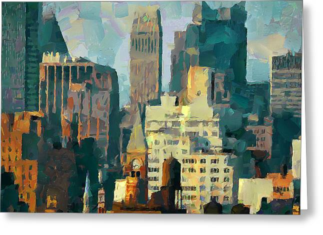 Live Art Greeting Cards - Nyc Greeting Card by Yury Malkov