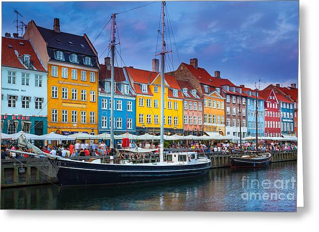Danish Greeting Cards - Nyhavn Canal Greeting Card by Inge Johnsson