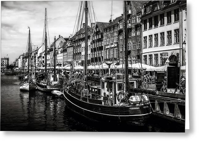 Tourists Greeting Cards - Nyhavn Harbor Greeting Card by Erik Brede