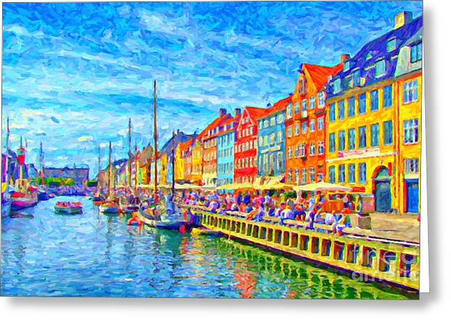 Port Town Digital Art Greeting Cards - Nyhavn in Denmark painting Greeting Card by Antony McAulay
