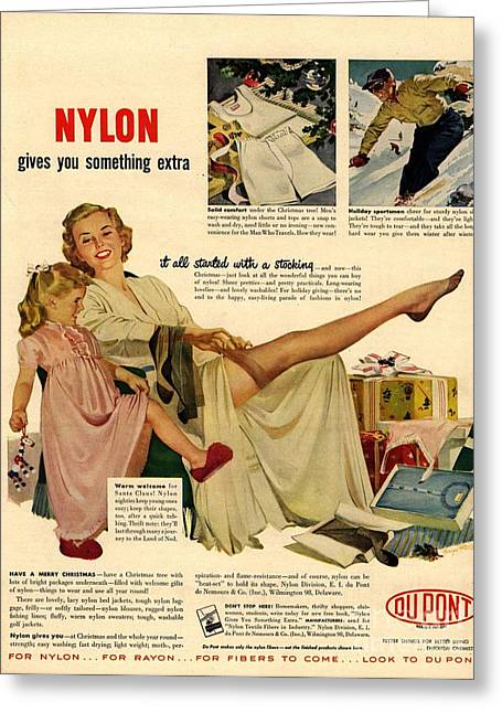 Nylon By Dupont 1940s Usa Nylons Greeting Card by The Advertising Archives