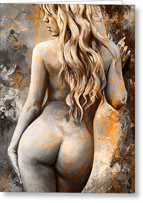 Nude Art Digital Art Greeting Cards - Nymph 02 - digital colored Rust Greeting Card by Emerico Imre Toth