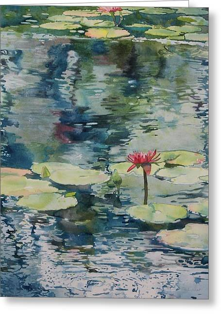 Lilly Pad Greeting Cards - Nymph Echo Greeting Card by Sandrine Pelissier