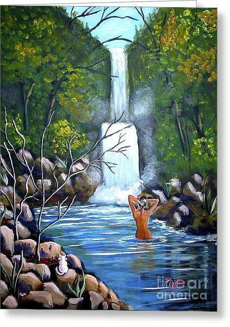 Fall Trees Greeting Cards - Nymph in Pool Greeting Card by Phyllis Kaltenbach