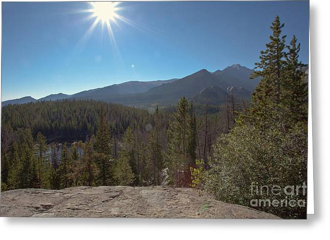 Nymph Lake And Longs Peak Greeting Card by Kay Pickens