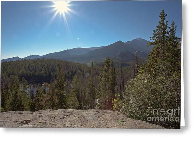 Nymph Lake and Longs Peak Greeting Card by Kay Pickens