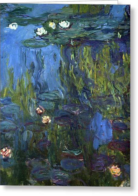 White Waterlily Greeting Cards - Nympheas Greeting Card by Calude Monet