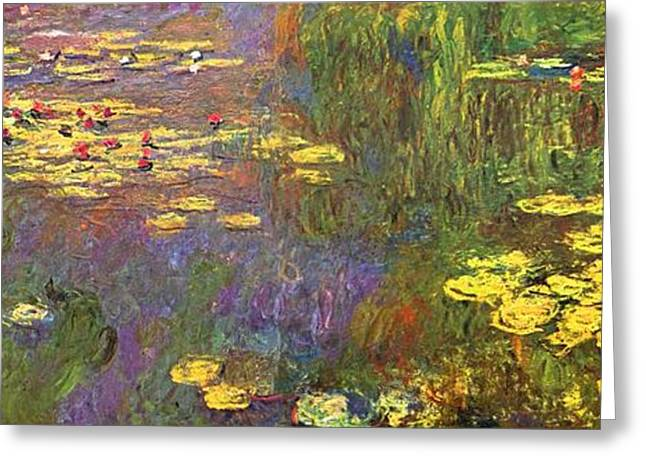 Lilly Pad Greeting Cards - Nympheas Water Plants Greeting Card by Claude Monet