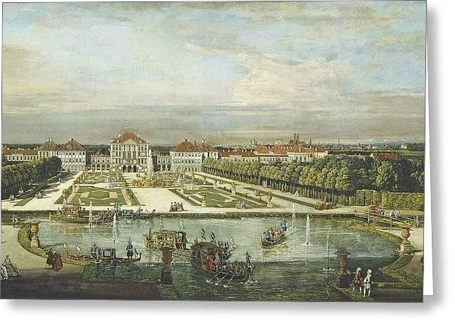 Water Garden Greeting Cards - Nymphenburg Palace, Munich, C.1761 Oil On Canvas Greeting Card by Bernardo Bellotto