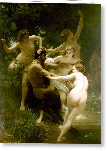Nymphs And Satyr Greeting Cards - Nymphs and Satyr Greeting Card by William Bouguereau
