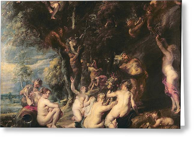 Artemis Greeting Cards - Nymphs And Satyrs, C.1635 Oil On Canvas Greeting Card by Peter Paul Rubens
