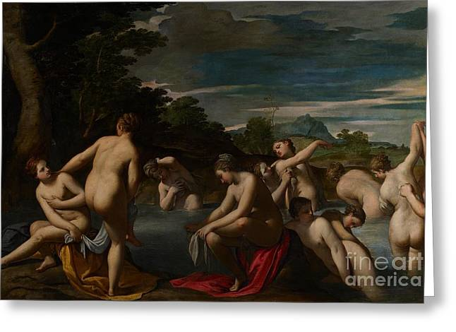 Shower Paintings Greeting Cards - Nymphs at the Bath Greeting Card by Ippolito Scarsella