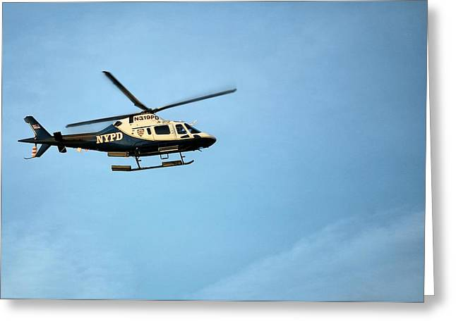 Ny Police Department Greeting Cards - NYPD Aviation  Greeting Card by JC Findley
