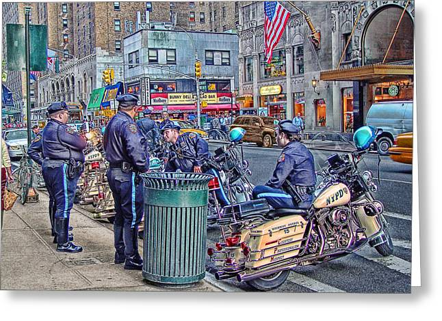 Police Cartoon Greeting Cards - NYPD Highway Patrol Greeting Card by Ron Shoshani