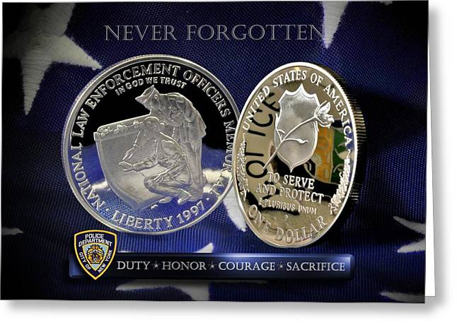 Nypd Greeting Cards - NYPD Memorial Greeting Card by Gary Yost