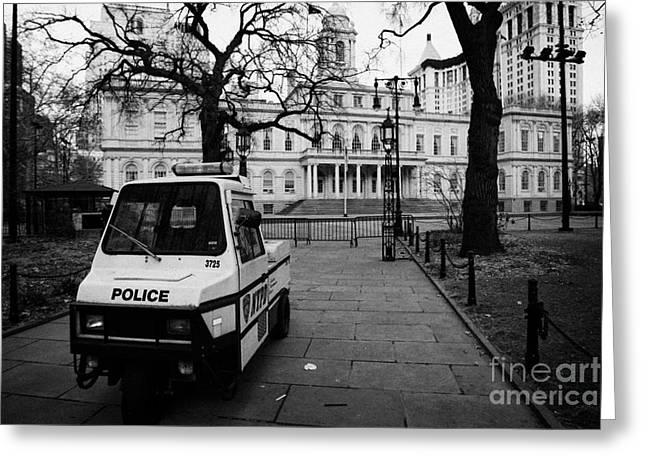 Manhaten Greeting Cards - NYPD police three wheeled cushman scooter vehicle outside City Hall park new york city Greeting Card by Joe Fox
