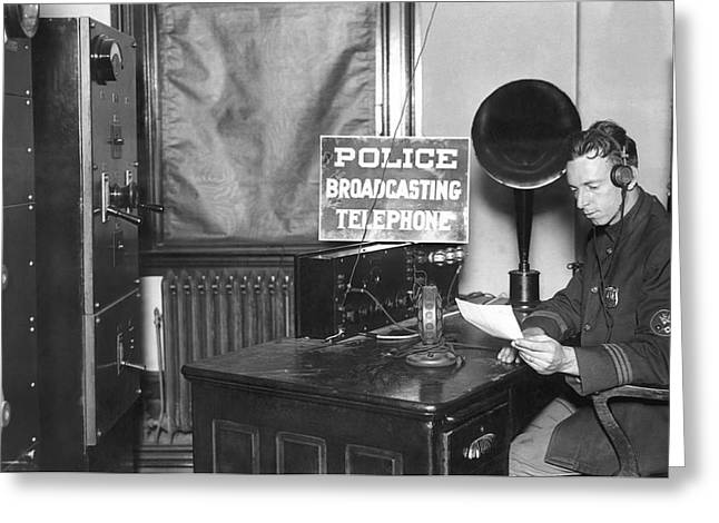Nypd Radio Station, Wlaw Greeting Card by Underwood Archives