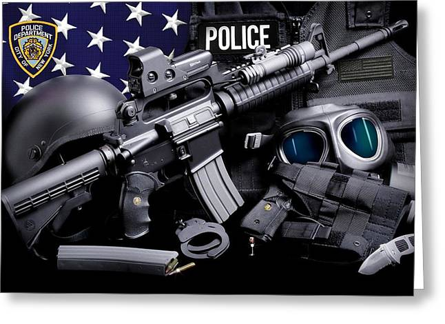 Nypd Greeting Cards - NYPD Tactical Greeting Card by Gary Yost