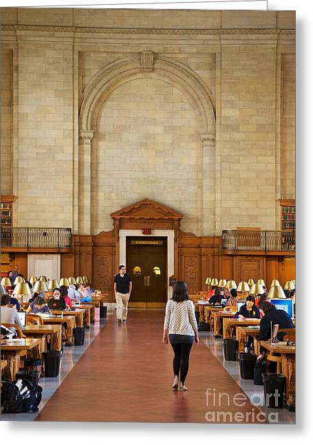 Carrel Greeting Cards - NYPL Main Reading Room Greeting Card by Jannis Werner
